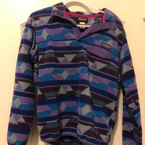 Geometric Purple Patagonia Synchilla Pullover
